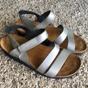 NAOT Silver Leather Ankle Strap Sandals 38 US 7.5